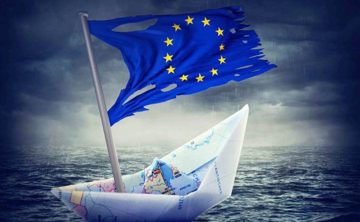 Sinking euro ship with a torn flag. Crisis concept.