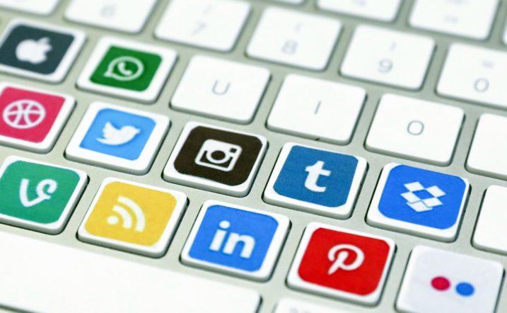 ANKARA, TURKEY - OCTOBER 26: Logos of social media are seen on keyboard keys in Ankara, Turkey on October 26, 2017.  Aytac Unal / Anadolu Agency