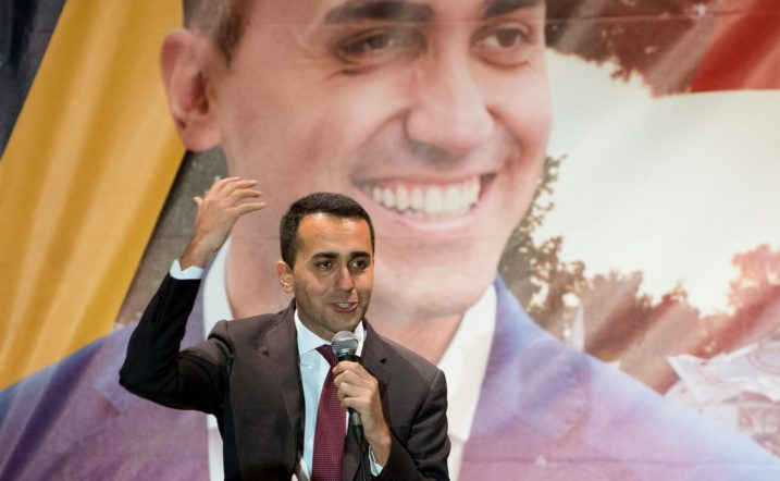 Luigi Di Maio, leader of Five Star Movement (M5S) party, gestures as he celebrates with supporters in his hometown of Pomigliano on March 6, 2018. M5S and far-right  League party  were the big winners of the election.